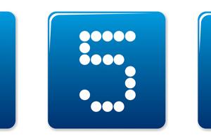 Digits square icons set. Blue - white palette. Vector illustration.